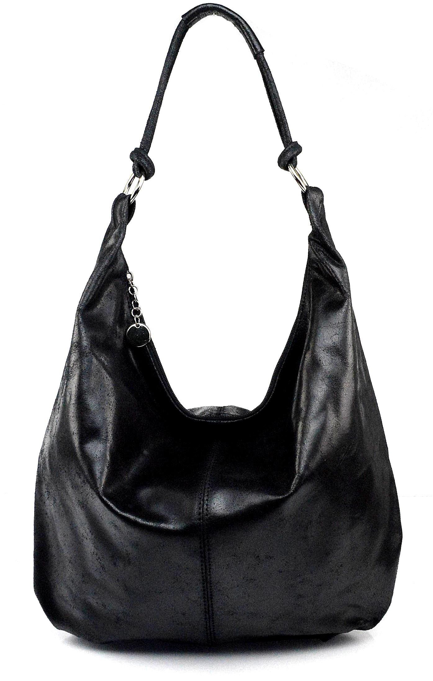 Kožená černá taška na rameno relic