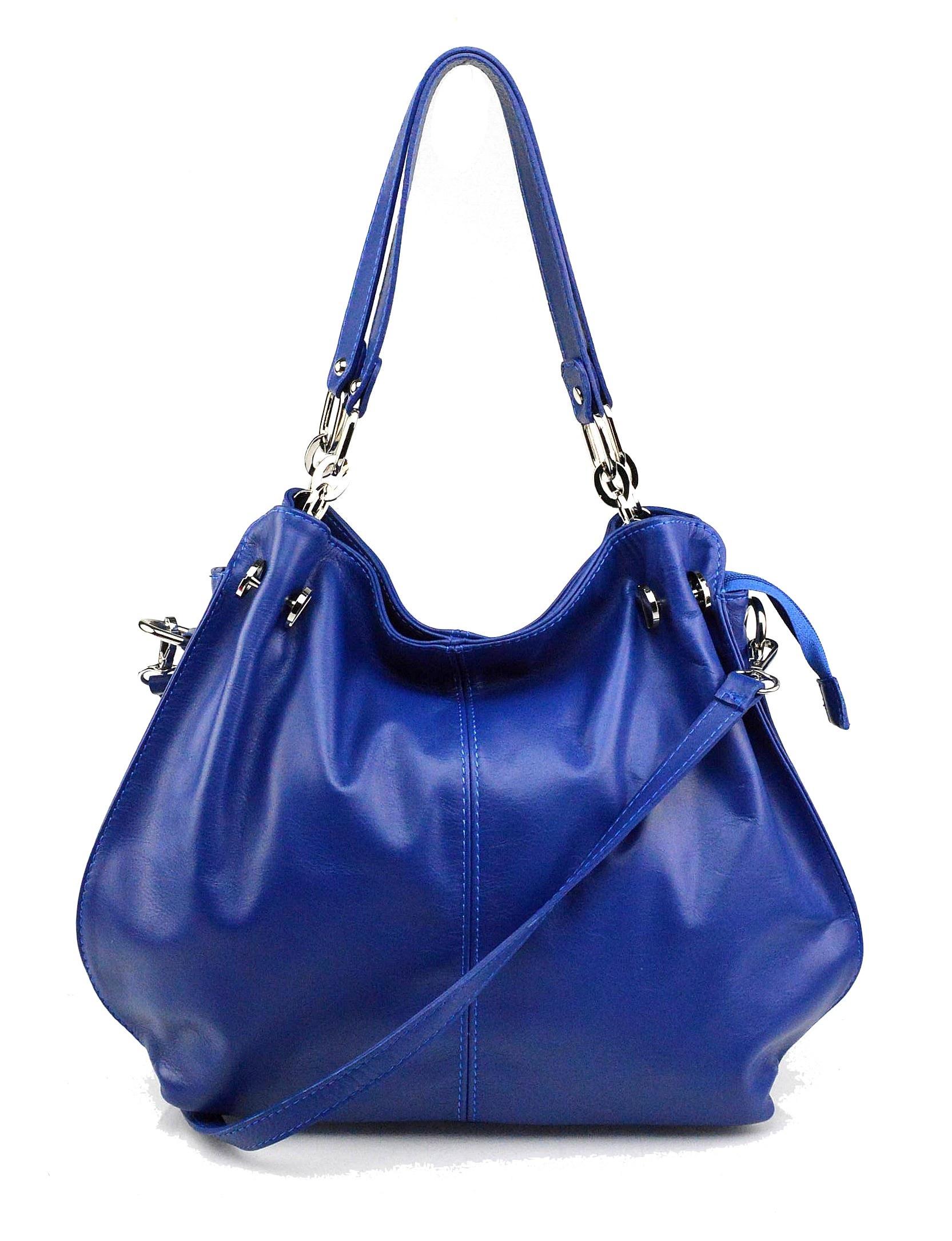 Kožená luxusní sytě modrá crossbody kabelka do ruky i přes rameno lorreine