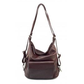 Praktická kožená větší bordó až purpurová kabelka a batoh 2v1 karin