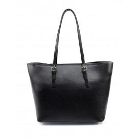 Kožená luxusní velká černá kabelka přes rameno alisane