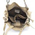 Kožená luxusní béžová taupe crossbody kabelka do ruky i přes rameno lorreine