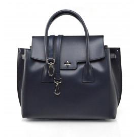 Kožená luxusní tmavě modrá kabelka do ruky Liana