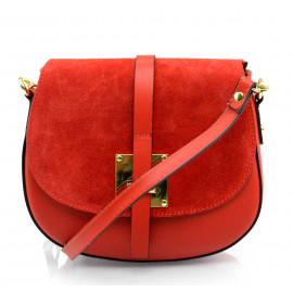 Menší stylová sytě červená kožená crossbody kabelka Jordane