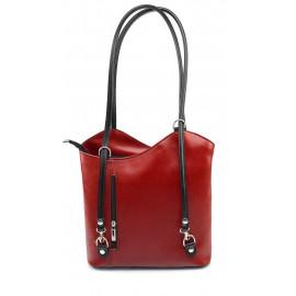 Kožená luxusní červená bordó s černou crossbody kabelka Grand Royal