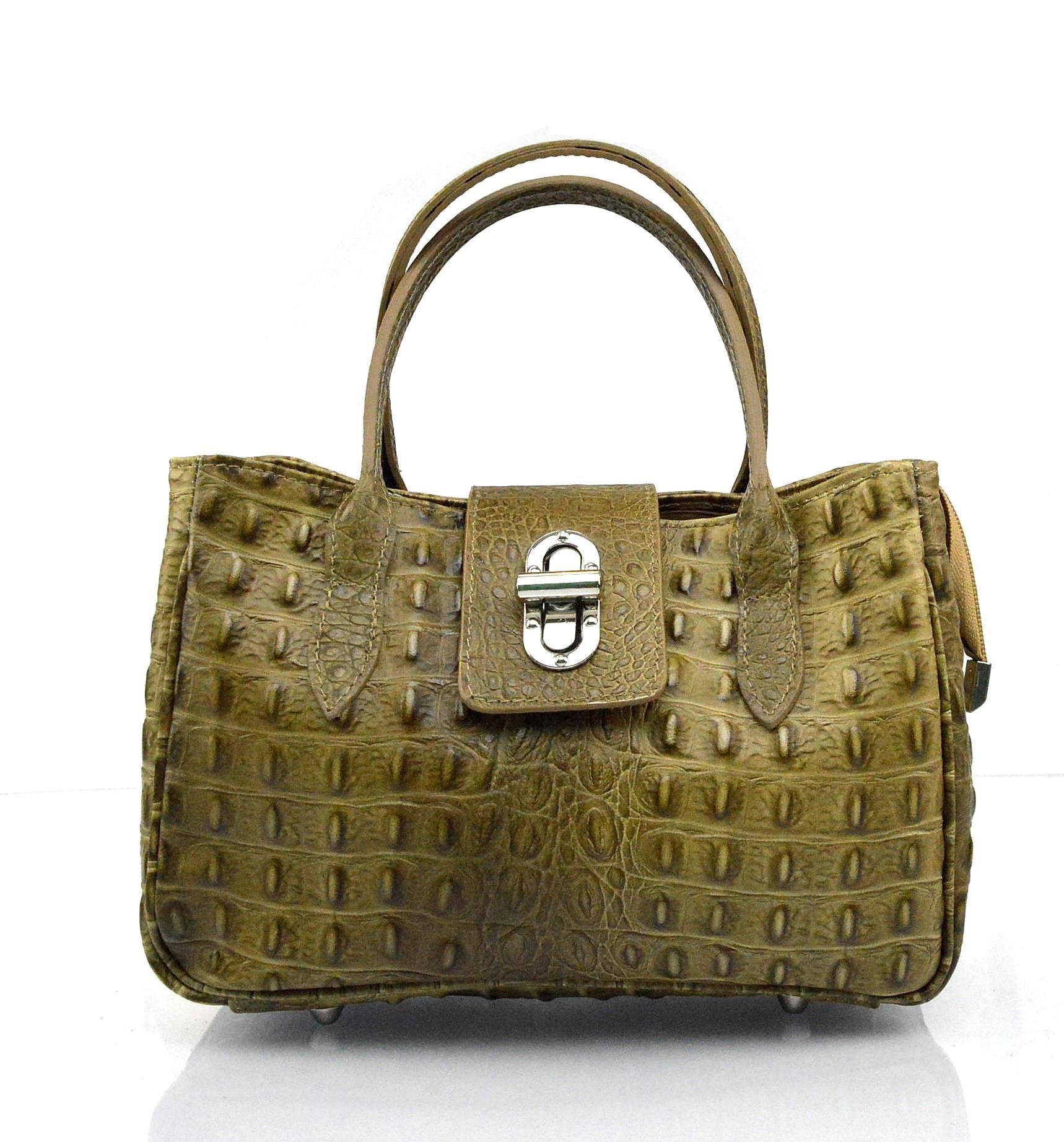 Kožená luxusní menší béžová taupe kabelka do ruky lila little
