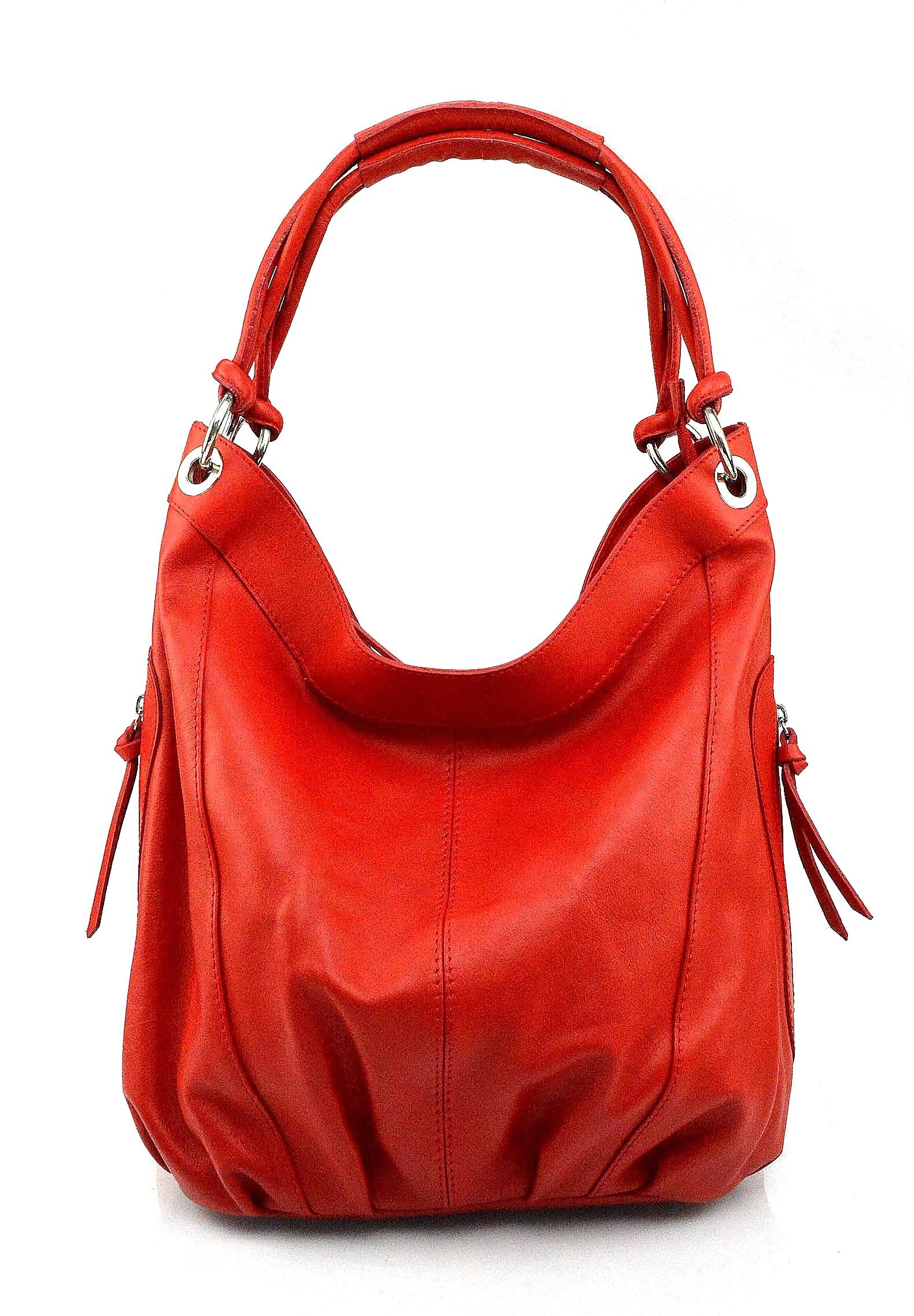 Kožená sytě červená velká taška na rameno adele