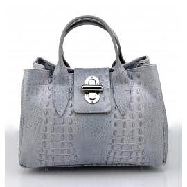 Kožená luxusní krokodýlí šedá kabelka do ruky lila