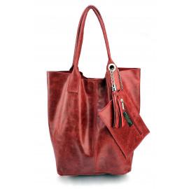 Nadčasová jedinečná tmavě červená kožená shopper kabelka přes rameno Melani