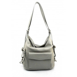 Praktická kožená větší šedá kabelka a batoh 2v1 Karin
