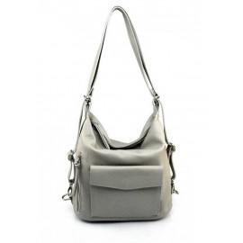Prostorná moderní světle šedá kožená kabelka a batoh 2v1 Karin 2v1