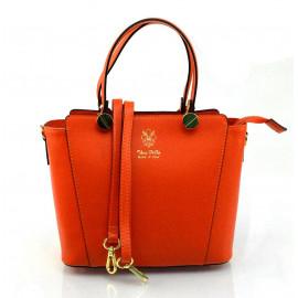 Kožená menší oranžová kabelka do ruky sofia
