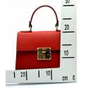 Kožená malá sytě červená kabelka do ruky samantha