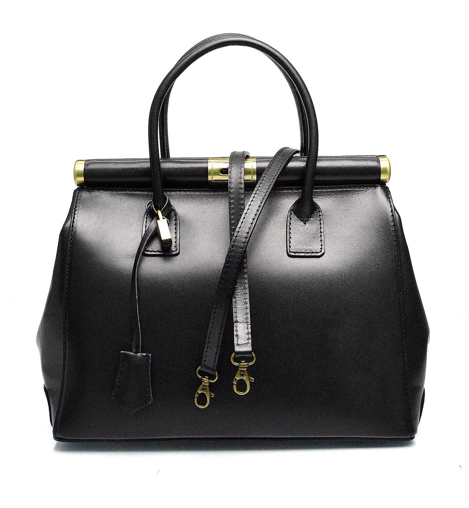 Kožená luxusní černá kabelka Look