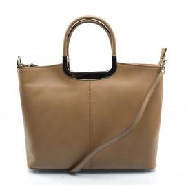 Menší stylová hnědá taupe kožená kabelka do ruky Amelia