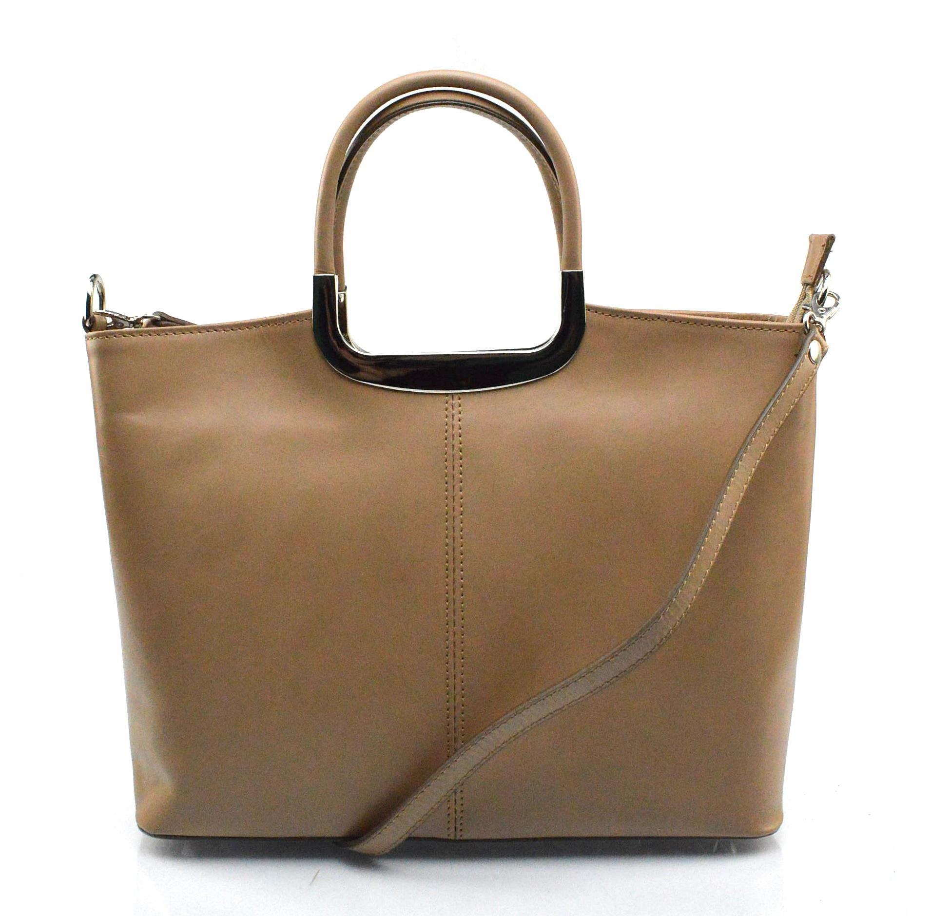 Kožená luxusní béžová taupe kabelka Amelia