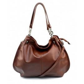Kožená luxusní tmavě hnědá kabelka do ruky i přes rameno lorreine