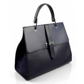 Kožená luxusní modrá kabelka do ruky adeline