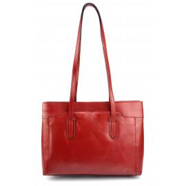Kožená praktická červená bordó kabelka na rameno Liones