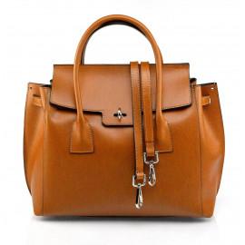 Luxusní jedinečná hnědá camel kožená kabelka do ruky Liana
