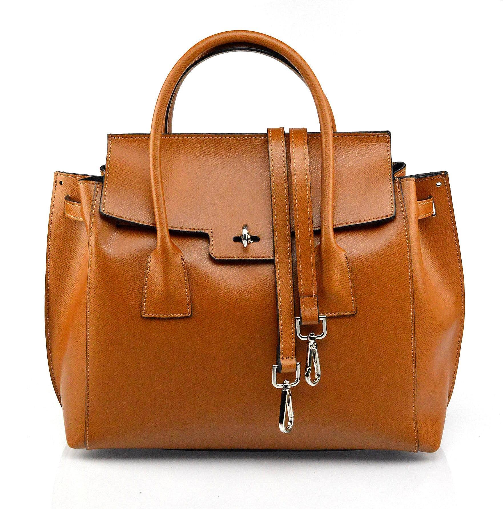 Kožená luxusní hnědá camel kabelka do ruky Liana