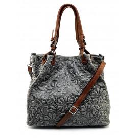 Jedinečná luxusní tmavě šedá kožená kabelka přes rameno Madeleine Two