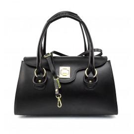 Kožená luxusní menší černá kabelka Olgin