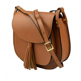 Kožená větší hnědá camel crossbody kabelka na rameno Bella