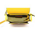 Kožená větší žlutá crossbody kabelka na rameno Bella