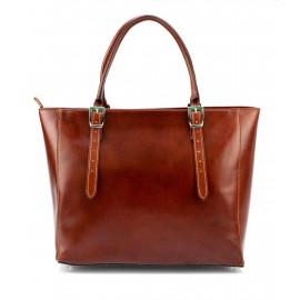 Velká praktická hnědá  kožená kabelka přes rameno Havelan