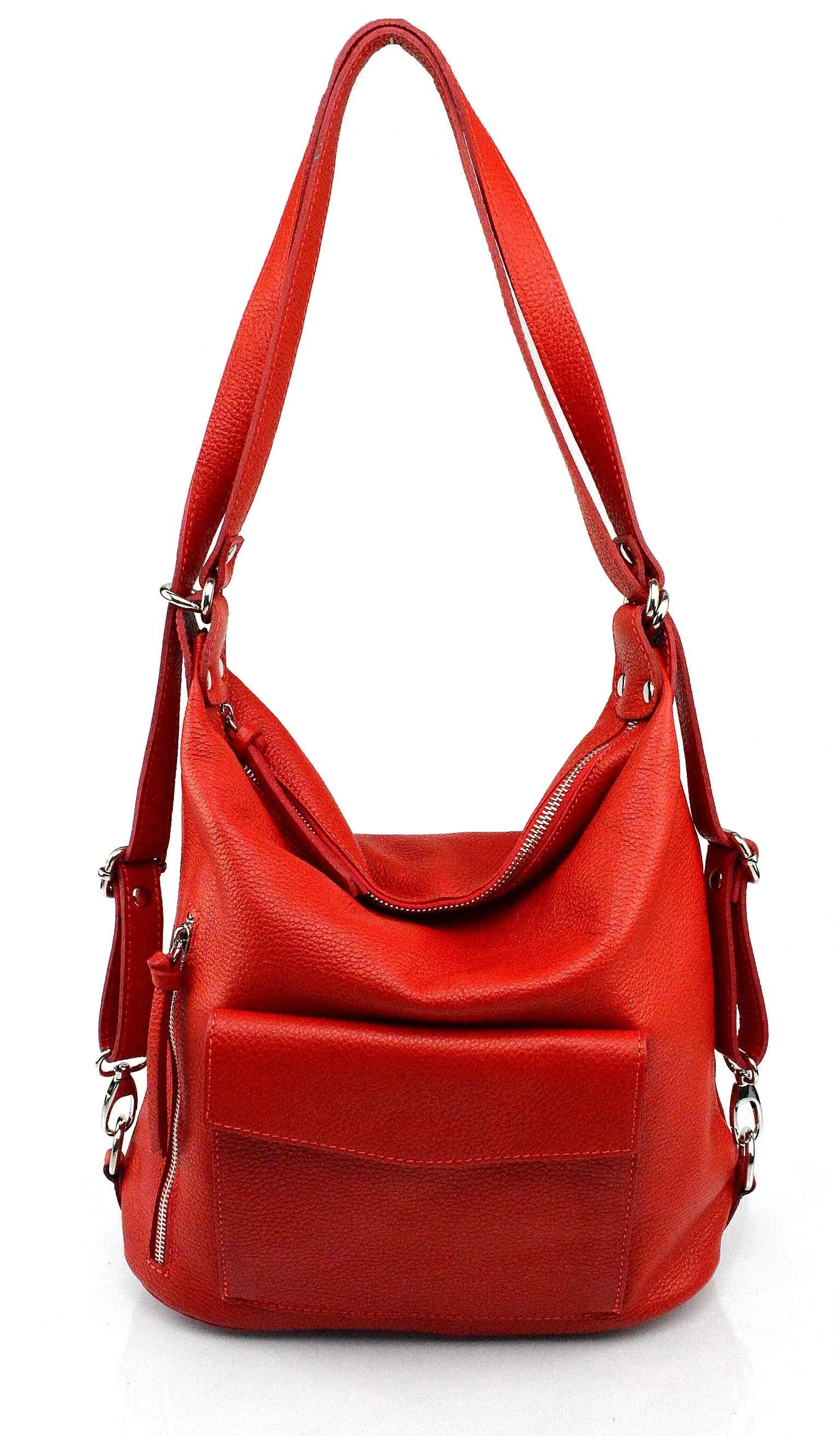 Praktická kožená větší sytě červená kabelka a batoh 2v1 Karin