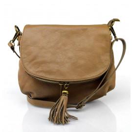 Kožená větší béžová taupe crossbody kabelka na rameno Tori