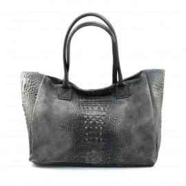 Kožená velká krokodýlí tmavě šedá taška na rameno jeana