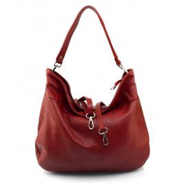 Kožená tmavě červená kabelka přes rameno Devona
