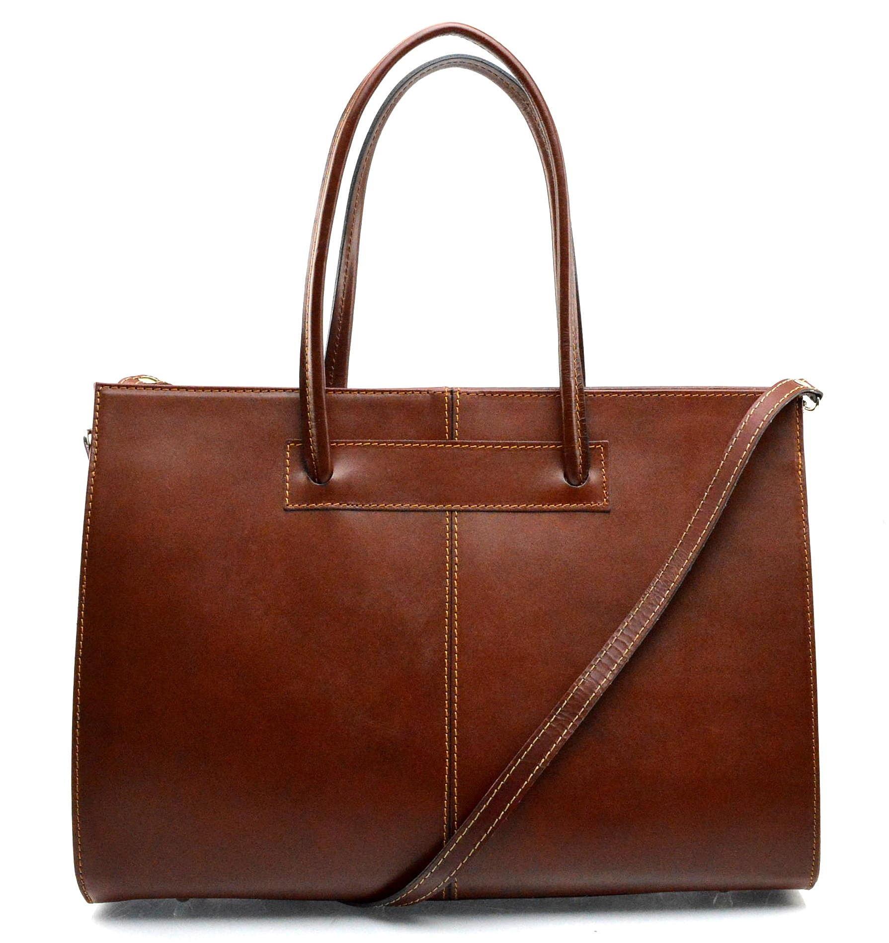 Kožená praktická mahagonově hnědá brown velká kabelka Business
