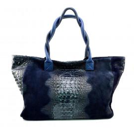 Kožená velká krokodýlí modrá taška na rameno jeana