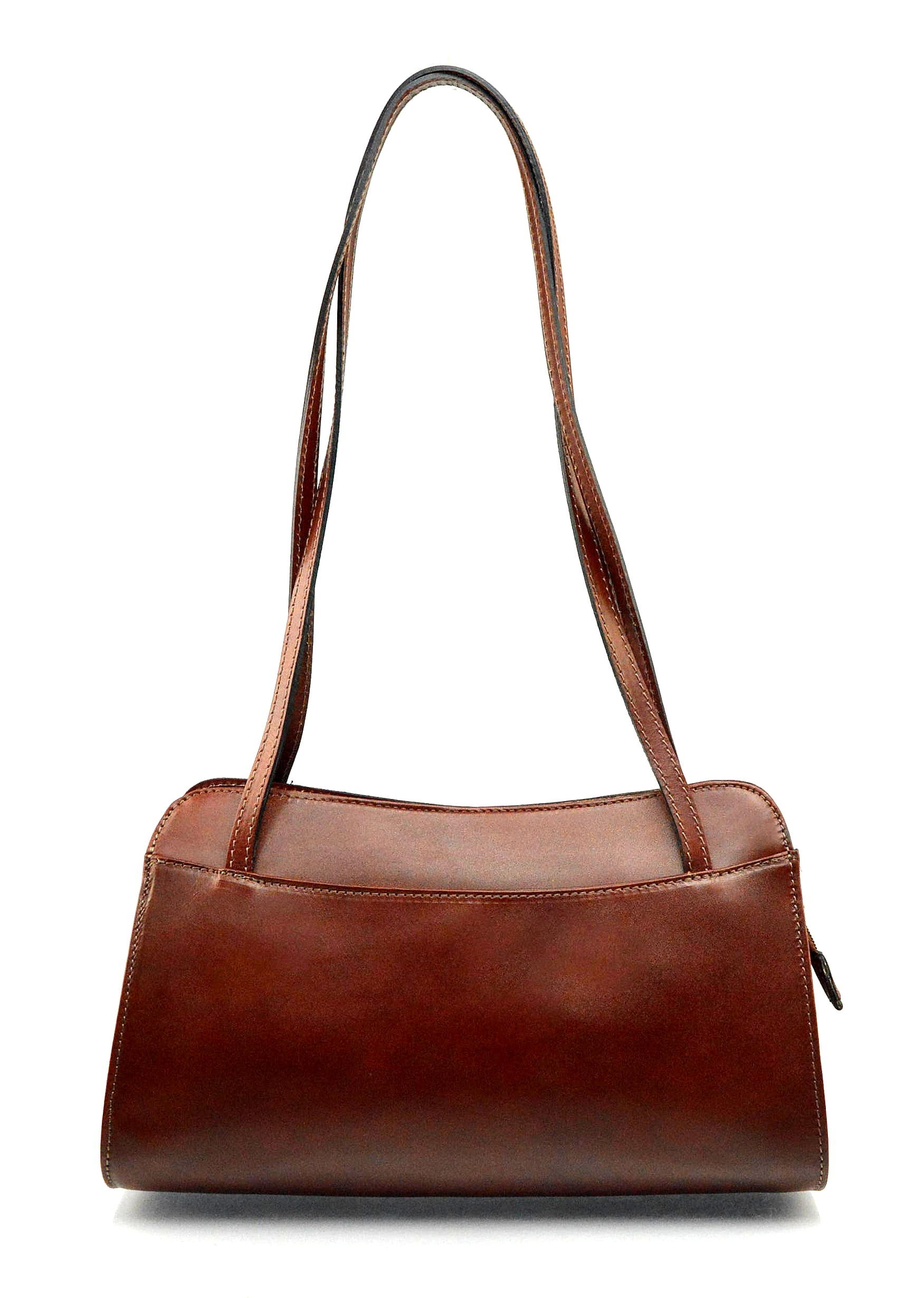 Kožená hnědá brown kabelka přes rameno Lesly