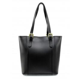 Kožená moderní vysoká černá kabelka na rameno carine