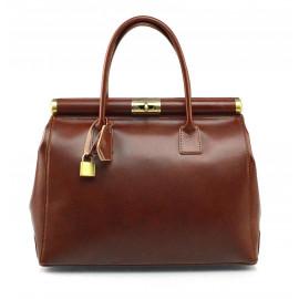 Kožená luxusní hnědá brown kabelka Look