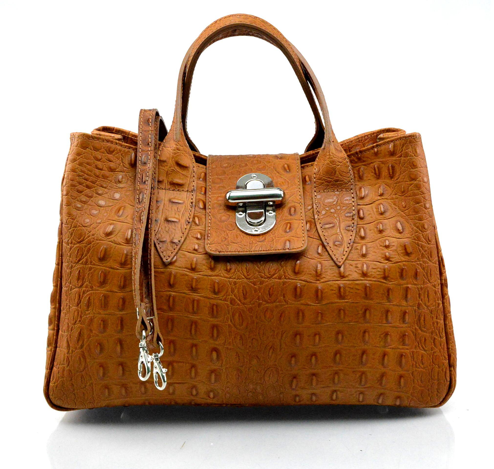 Kožená luxusní krokodýlí hnědá camel kabelka do ruky lila