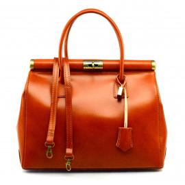 Kožená luxusní koňakově hnědá kabelka Look