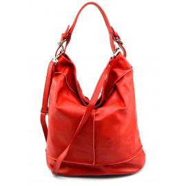 Větší stylová sytě červená kožená kabelka přes rameno Adele Two