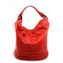 Kožená červená velká taška na rameno adele two