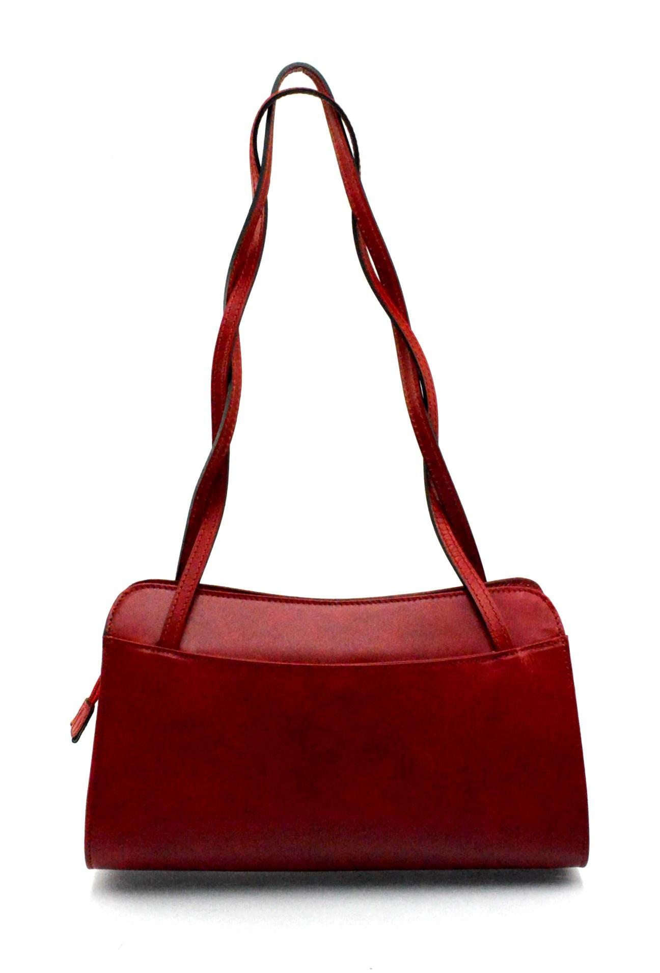 Kožená červená bordó kabelka přes rameno Lesly