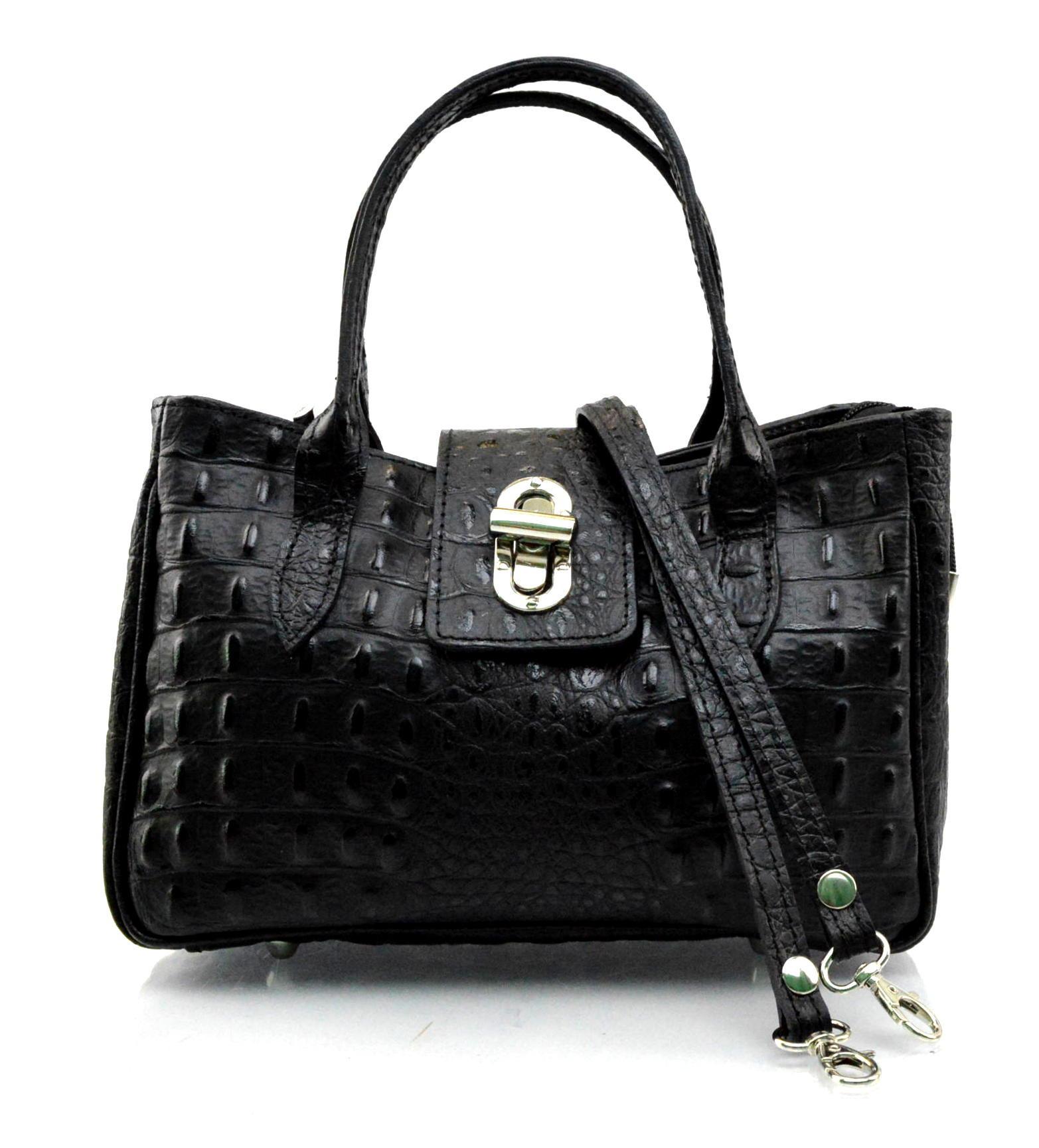 Kožená luxusní menší černá kabelka do ruky lila little