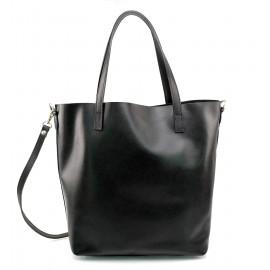 Kožená praktická černá velká taška Evita 2v1