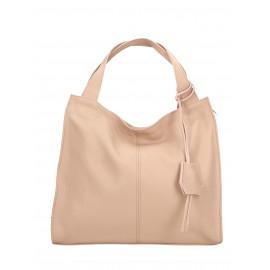 Kožená luxusní světle růžová kabelka přes rameno Darci