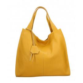 Kožená luxusní hořčicově žlutá kabelka přes rameno Darci