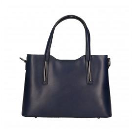 Kožená luxusní menší tmavě modrá kabelka Luciana