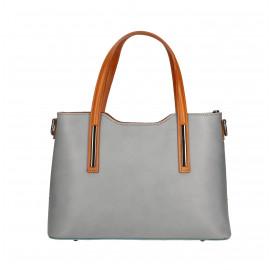 Kožená luxusní menší světle šedá kabelka Luciana