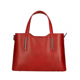 Kožená luxusní menší červená bordó kabelka Luciana
